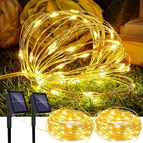 2 Pack Solar Lichterkette Aussen 5M 50pcs LED Wasserdichte Solar-Deko-Lichterkette LED Licht für Weihnachten Partys Garten Hochzeiten Dekoration, Warmweiß [Energieklasse A+++]