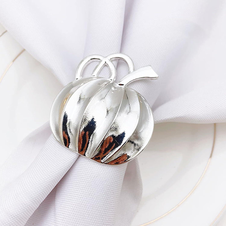 TOLUON 6 Pc Halloween Max 57% OFF Limited price sale Pumpkin Ring Napkin Golden Metal H