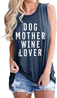 Dog Mother Wine Lover Tank Top Womens Funny Alcohol Animal Lover Sleeveless T-Shirt Vest