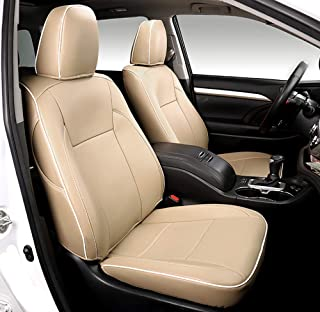 Bwen Car Seat Covers zdh225 Beige with Beige Leather Custom Full Set 7 Seat's Covers Fit for 2015-2019 Toyota Highlander
