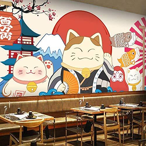 Karikatur im japanischen Stil Winkende Katzentapete Wandbild im japanischen Stil Dekoration im japanischen Stil Restaurant Sushi Restaurant Tapete-250Cmx175Cm