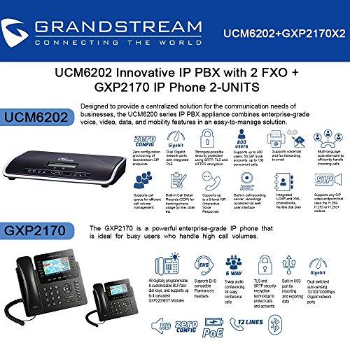 Grandstream UCM6202 IP PBX with 2 FXO + GXP2170 2-UNITS IP Phone