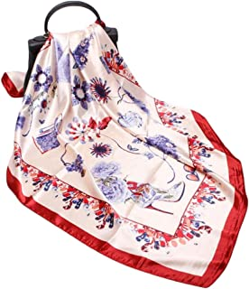 Fashion Women's Summer Fashion Scarf 90cm Satin Large Square Scarf (Color : 01, Size : 90 * 90cm)