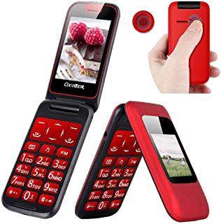 Peedeu Unlocked Flip Mobile Phone, SOS Big Button, 2.6-inch SIM-Free Dual SIM Dual Standby, Quick Dial Key Easy-to-use Clamshell Cell Phone for Elderly Seniors, Red