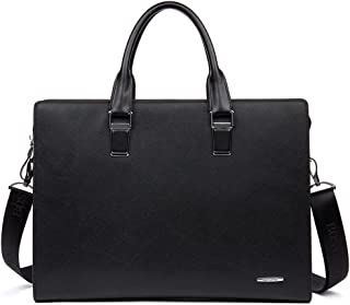 BOSTANTEN Leather Briefcase Shoulder Laptop Business Slim Bag for Men & Women Black