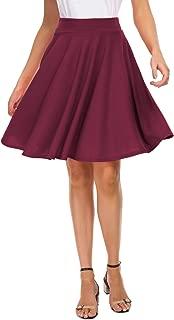 Women's Basic Skirt A-Line Midi Dress Casual Stretchy Skater Skirt