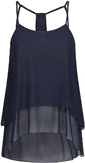 VESKRE Women's Casual Chiffon Round Neck Sleeveless Vest Tank Tops Blouse T-Shirt