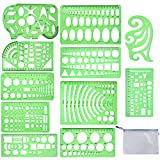 QincLing 11 Pieces Geometric Drawings Templates Stencils Plastic Measuring Template Rulers Clear Green Shape Template for Drawing Engineering Drafting Building School Office Supplies