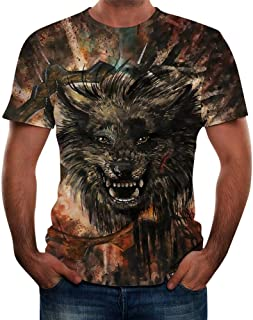 DIOMOR Men's Fashion Casual Wolf 3D Graphic Unique Tees Shirts Night Out Blouse Teen Funny Party Print Short Sleeve Tops