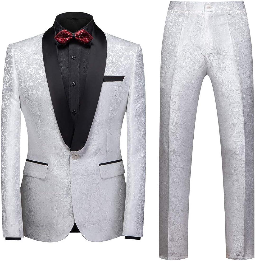 MOGU Mens 2 Piece Suit Slim Fit Shawl Lapel Tuxedo for Daily Business Wedding Party (Suit Jacket + Pants)