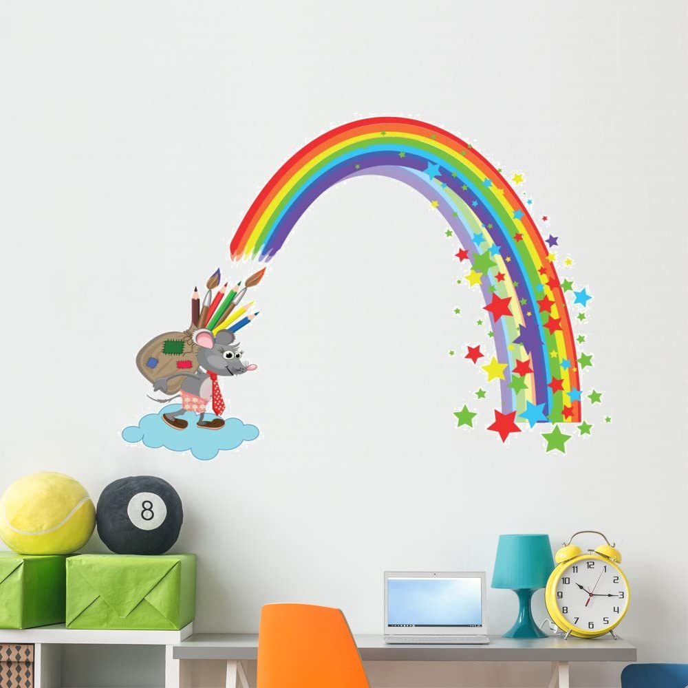 Wallmonkeys Mouse with Bag Pencils Wall and Stick Gra Decal Superlatite Peel Choice