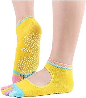 Wenquan - 3 pares de calcetines para mujer, 5 dedos de los pies, de silicona, antideslizantes, amarillo, talla única