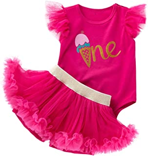 First Birthday Baby Girl Outfits Romper Tulle Skirt Headband 3PCS Clothes Set