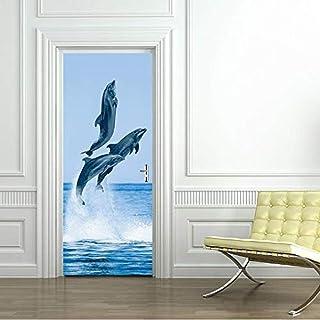 Dauphins porte autocollant auto-adhésif étanche Photo papier peint papier peint autocollant mural pépinière décor à la maison
