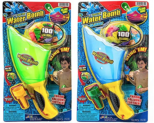 JA-RU Water Balloon Launcher, (2 Packs Assorted) Water Balloon Slingshot, 30 Colorful Water Balloons Slinger & Rapid Water Injection Tool for Kids and Adults Water Bomb Sling Shot Set. 719-2