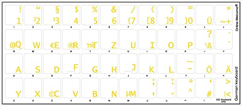 German Keyboard Stickers with Transparent Background with Yellow Lettering for Computer LAPTOPS Desktop