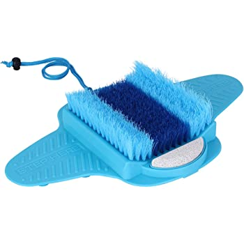 Ollieroo Foot Scrubber Brush Massage Shower Floor Foot Cleaner with Pumice Bristles Exfoliating Dead Skin Foot Spa Anti-slip Suction Cups
