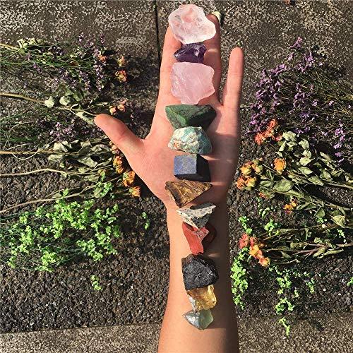 12 PCs Chakra Stone Tumbled Stone Crystal Kit Rough Raw Healing Stone Set for Yoga, Meditation, Zen, Aura Cleansing