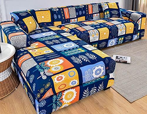Funda Sofas 2 y 3 Plazas Dibujos Animados Amarillo Azul Fundas para Sofa con Diseño Universal,Cubre Sofa Ajustables,Fundas Sofa Elasticas,Funda de Sofa Chaise Longue,Protector Cubierta para Sofá