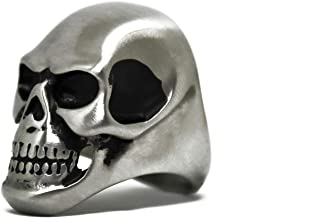 Action Box Jewelry Skull Ring, Men's Vintage Matte Finish Skull Motorcycle Ring, Outlaw Motorcycle Club Skull Ring