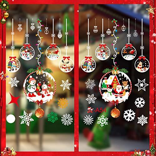 Weihnachtsdeko Fenster, Schneeflocke Fensteraufkleber, Weihnachts-Fenster Dekoration, Aufklebe Weihnachtsmann, Fensterbilder Winter, Fensterbilder, Schneeflocken Fenster,Deko Weihnachten