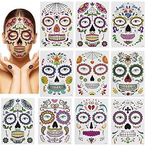 PERFETSELL 10 Pcs Tatuajes para la Cara Halloween Tatuajes Temporales adhesivos tatuajes de pegatina Facial para Niños Mujer Hombre Maquillaje en Baile de Disfraz Halloween Día de los Muertos