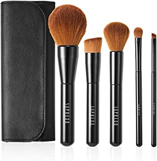 Supredo Essential Makeup Brush Set and Brush Kit, Synthetic Cosmetics Foundation Powder Concealer Kabuki Bronzer Blending Blushes for Face, Eye and Brow Makeup, Aluminum Ferrule (5 pieces)