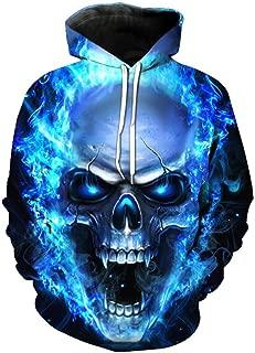 ManxiVoo Hooded Sweatshirt Men and Women Skull Hoodie Unisex 3D Printed Pullover Long Sleeve Tops Blouse