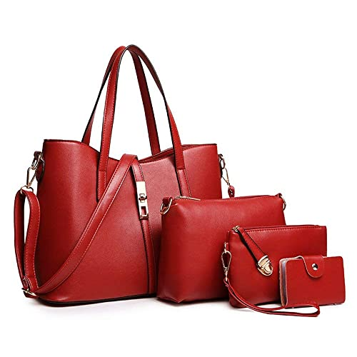 6b98f551281 YTL Women Fashion Synthetic Leather Handbags+Shoulder Bag+Purse+Card Holder  4pcs Set