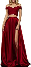 yinyyinhs Two Piece Prom Dresses Long Off Shoulder Lace Satin Slit Formal Dress
