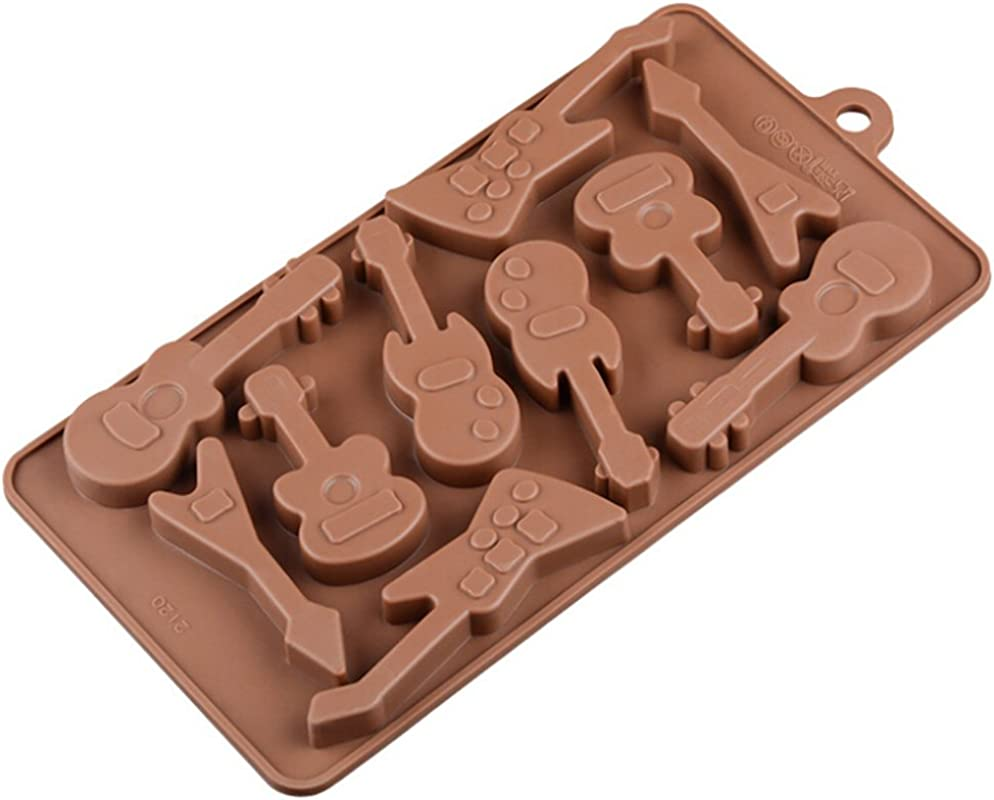 Chige 10 Cavity Guitar Candy Mold Trays Silicone Baking Pan Food Grade BPA Free Not Sticky Cake Decoration Mould For Mousse Chocolate Brownie Jelly Ice Cream Chiffon Cheesecake Fondant