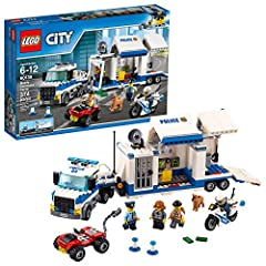 Chase the bad guys in LEGO City as you build a truck that opens into a police mobile command center truck playset, with a detachable cab, jail cell, monitoring room, satellite dish, atv, motorbike and more cool cop features! The action-packed fun nev...