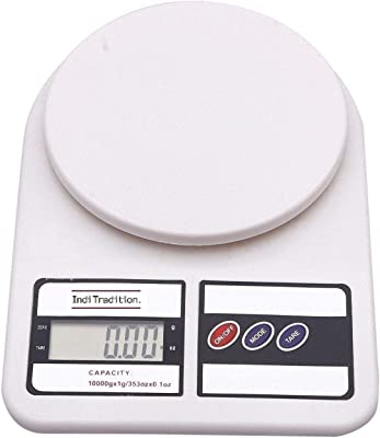 Inditradition Digital Kitchen Weighing Scale, Capacity 10 KG, Battery Operated, White