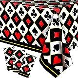 3 Manteles de Plástico de Fiestas de Poker Decoraciones de Fiesta de Cumpleaños Temáticas de Casino Poker Cubierta de Mesa Desechable para Halloween Navidad, 54 x 108 Pulgadas