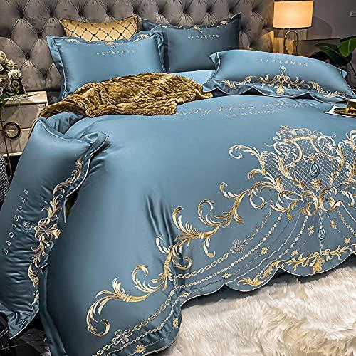 GaoTianyou Falda de Cama de Verano Ropa de Cama de Seda Lavable 4 Piezas de Seda de Hielo sábanas de Dormir Desnudas sedosas Europeas de Seda Cubierta de edredón Colcha-Blue_1.5-1.8m_Bed_ (4pcs)
