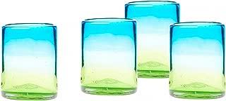 Amici Home, 7MCR710S4R, Sonora DOF Mexican Handmade Glass, Set of 4, 12 oz, Multicolored