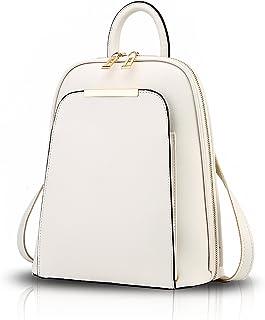 Tisdaini Damen Rucksackhandtaschen modische PU leder reise freizeit schulrucksack Weiß