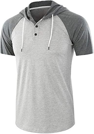 Camisa con Capucha para Hombre, Manga Corta, Camiseta de ...