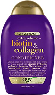 OGX Thick & Full + Biotin & Collagen Extra Strength Volumizing Conditioner with Vitamin B7 & Hydrolyzed Wheat Protein for Fine Hair. Sulfate-Free Surfactants for Thicker, Fuller Hair, 13 fl oz