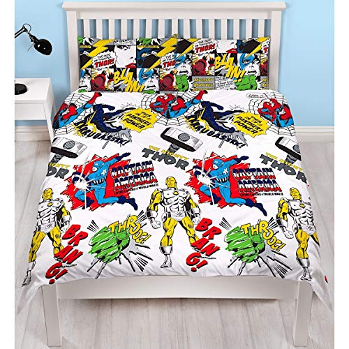 Marvel Comics Official Scribble Double Duvet Cover Design | Spiderman, Captain America, Hulk Design Reversible Two Sided Bedding Duvet Cover With Matching Pillow Case