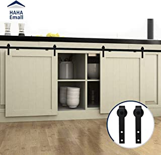 Hahaemall Vintage Decorative 5FT Sliding Mini Barn Door Hardware Kit for cabinets and tv Stand Steel Track with Best Heavy Hangers Set (5FT Mini J-Shape Double Kit)