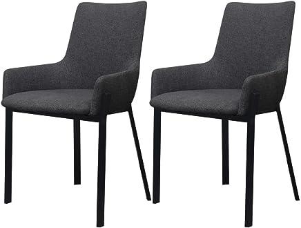 2x Design Chaises salle à manger Gris Chaise bois plastique art-cuir