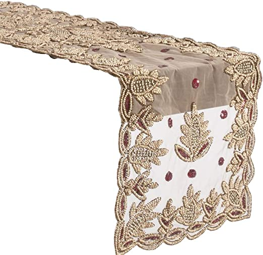 Amazon Com Fennco Styles Lakshmi Collection Elegant Hand Beaded Table Runner 16 X 72 Inch Burgundy Table Cover For Home Decor Banquets And Special Occasions Home Kitchen