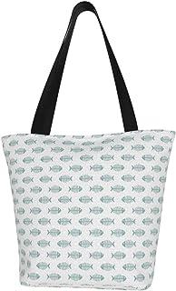 Lesif Einkaufstaschen, dunkelblaue Fische, Segeltuch-Schultertaschen, wiederverwendbare faltbare Reisetaschen, groß und langlebig, robuste Einkaufstaschen