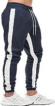 FASKUNOIE Men's Athletic Pants Skinny Side Stripe Casual Elastic Close Bottom Track Pants