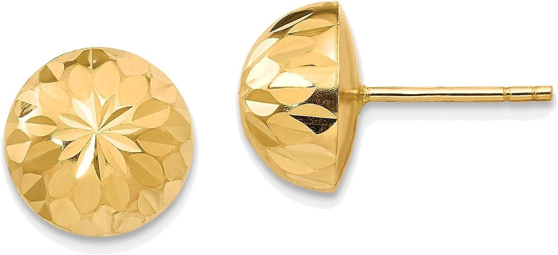 Madi K Polished & Diamond-Cut 9mm Button Post Earrings in 14K Yellow Gold
