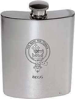 Begg Family Crest 6oz Polished Pewter Kidney Flask