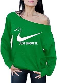 Awkwardstyles Just Shoot It Off The Shoulder Tops Pocket Sweatshirt Duck Hunter