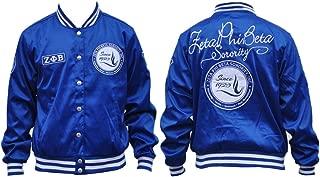 New! Ladies Zeta Phi Beta Satin Blue Sorority Jacket Button Up Coat