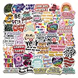 50 Pcs Inspirational Stickers, Reward Motivational Sticker Packs for Students, Teachers, Teens, Adults, Waterproof Positive Word Quote Vinyl Stickers for Laptop, Flasks, Skateboards, Computers